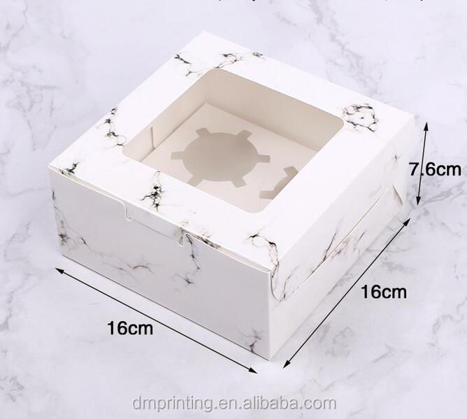 Wholesale Custom Cupcake Macaron Mooncake Cupcake Marble Paper Gift Box With Window