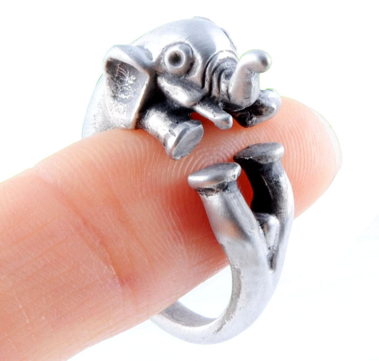 3 Pcs Wholesale Adjustable Elephant Animal Wrap Ring -Bronze Silver Women's Girl's Retro - Rings For Teen Girls