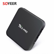 Soyeer Unique Ui Amlogi Antenne Externe <span class=keywords><strong>Boîte</strong></span> de Télévision Android Tx5 Pro Quad Core Full Hd 4 K Android Tv Box