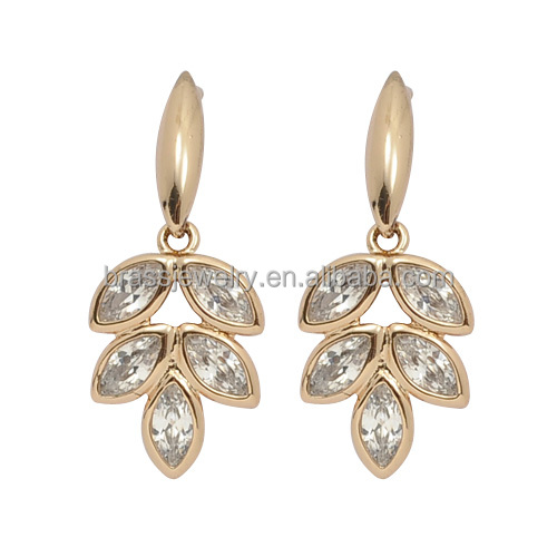 Charming AAA Zircon Fashion Gold Plated Leaf Stud Earrings for Party Girls