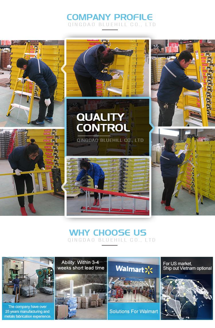 2-28 Aluminium Stap Glasvezel Stap Extension Ladder Met Extension Glasvezel