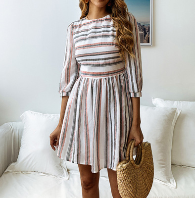 2019 Fashion Womens Midi Sleeve O-Neck Stripe Print <strong>Dress</strong> Sexy Female <strong>Dresses</strong> Elegant ladies <strong>Dress</strong>