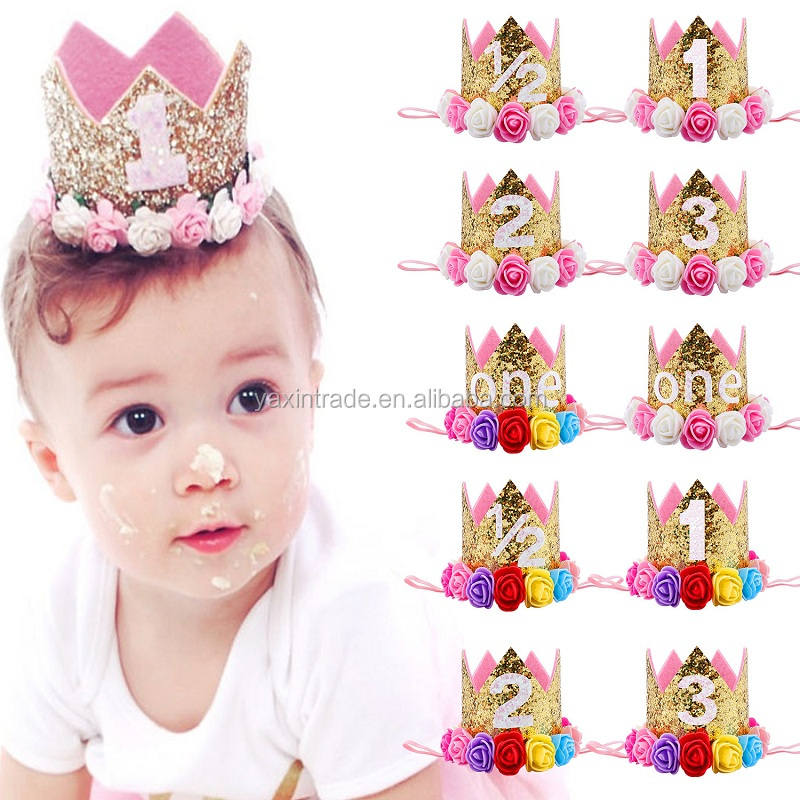 First Birthday Hat Princess Crown Number 1st Party Headband Hat Birthday Decor