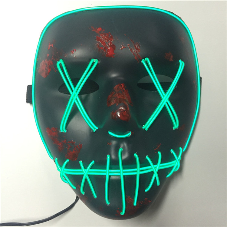 PVC halloween scary horor dj  purge mask party el wire led rave helmet cosplay prop bar masquerade neon masks