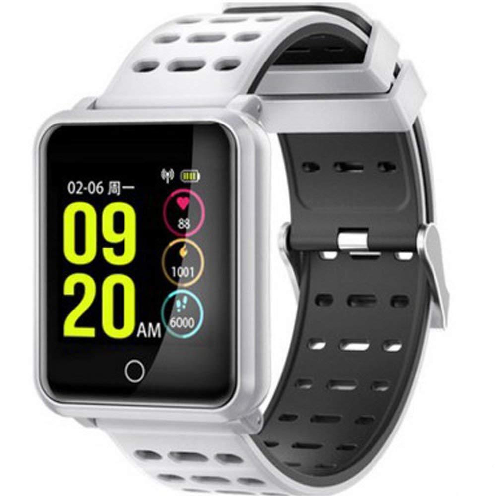 Fly Smart 1.3 Screen Watch Heart Rate Blood Pressure IP68 Waterproof Anti-Lost Exercise Sleep Monitoring Bracelet Watch (Color : White)