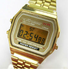LED digital mental watch with gold and silver color