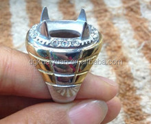 Hot designs titanium big stone ring mounts without stones for men stainless steel big stone rings