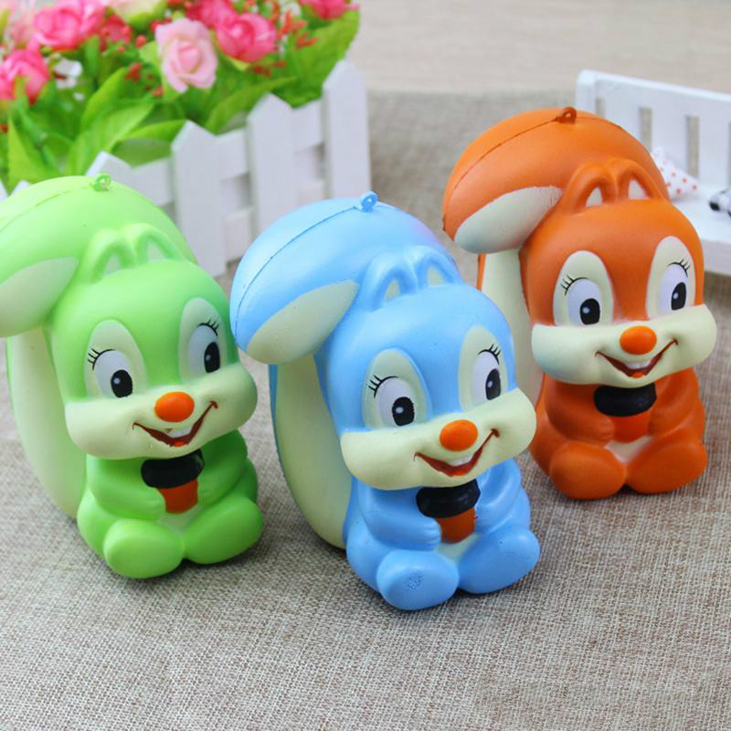 OLEEDA 13CM Kawaii Jumbo Squirrel Squishy Animal Toy Soft Super Slow Rising Toy Scented Phone Strap Kid Toy Gift