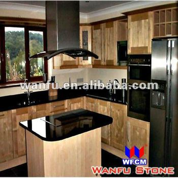 New style black granite indian kitchen interior design for Interior design of kitchen room in india