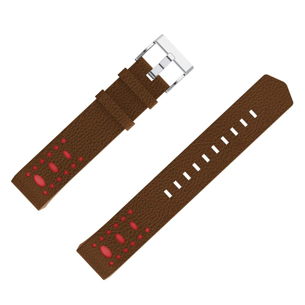 Ginamart Replacement Band for Fitbit Charge 2 Genuine Leather Hollow Strap Bracelet Wristband Black Brown Grey