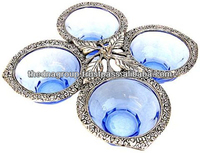 White Metal Glass Leaf Shape Dry Fruit Bowl For Gift - Buy White ...