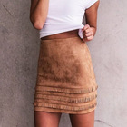F20565A High quality lady skirt synthetic sueded short skirts package hip tassels mini skirt for women