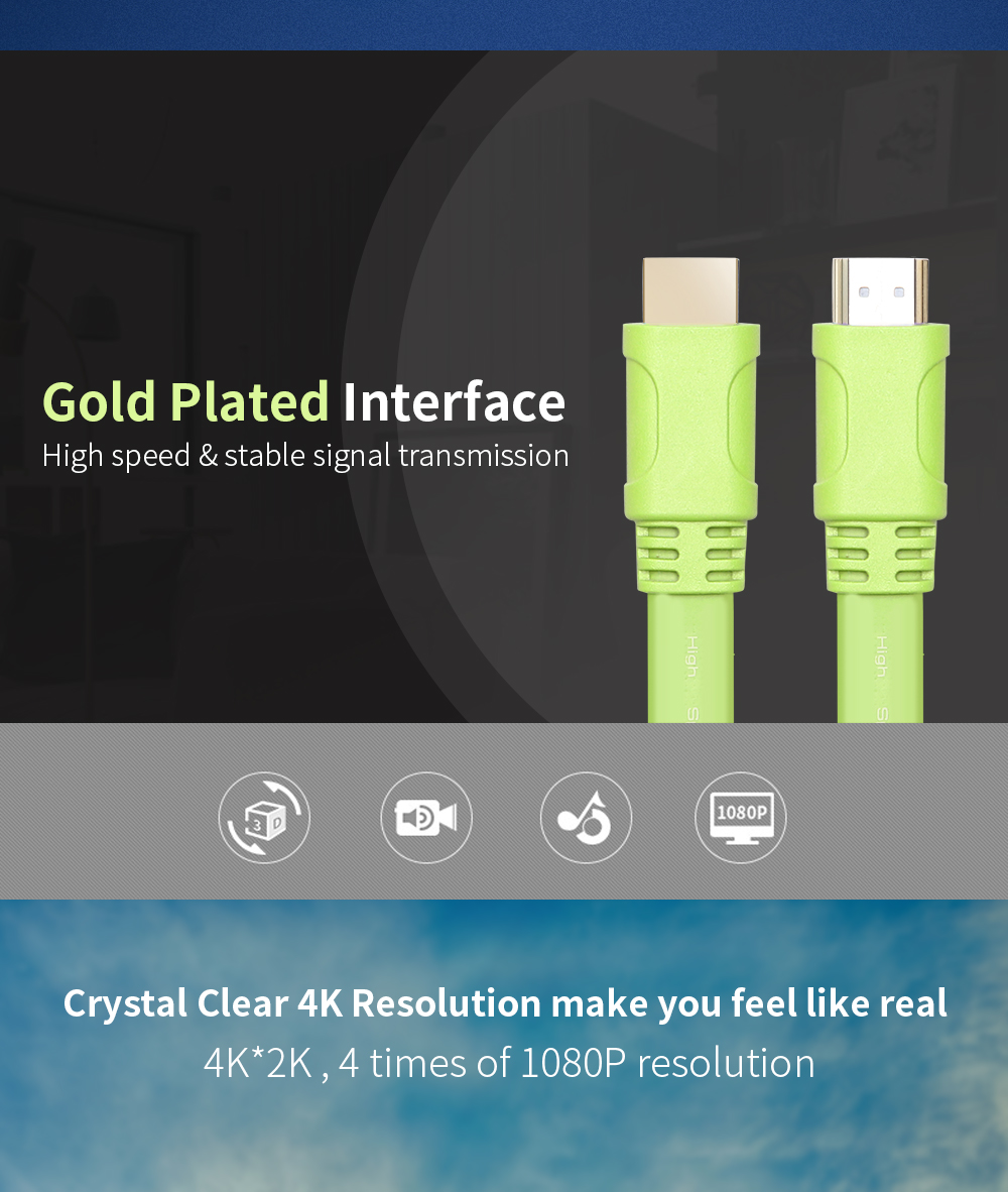High quality 1080P Male to Male gold plated connector slim flat hdmi cable for PS4
