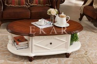 Oval small american 2 drawer 2 shelf solid wood top oak coffee table standard dimension white end table