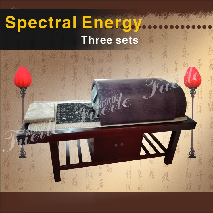 2018 ,three product heating far infrared tourmaline sauna dome with massage mattress wood bed