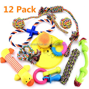 12 Pack gift pet toy for dogs FREE assortment chew squeaky cotton rope dog toy set