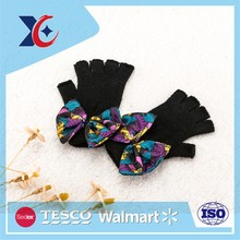 wholesale custom cheap fashion knitted with rosette fingerless gloves