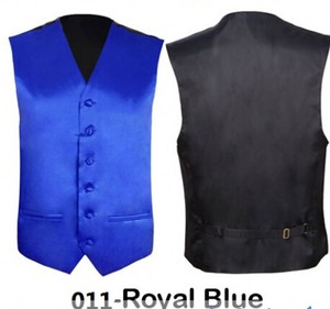 Custom Private Label Royal Blue Men's Solid Color Slim Fit Vest Wedding Groomsmen Sleeveles Waistcoat Suit with Two Pockets