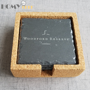 Fashionable square natural black engraved slate coaster for woodford reserve