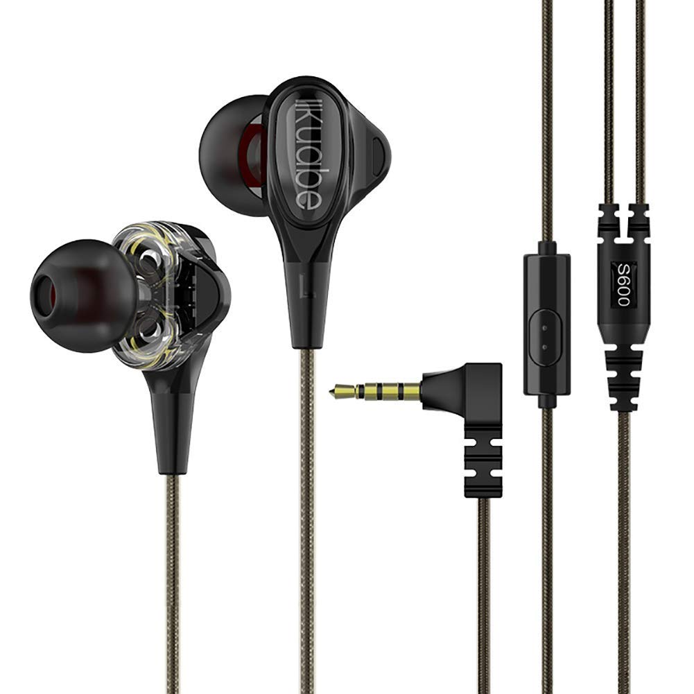 QRMH Wired in-Ear Headphones Quad-Core Double-Motion Music Headset Headset with Microphone, One-Button Remote Control, Low Distortion,Black