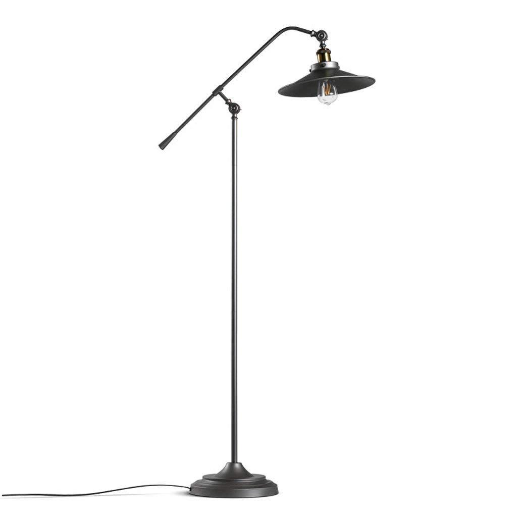 American Retro Style Long Arm Iron Floor Lamp, Study Living Room Sofa Bedroom Bedside Floor Light, Iron Lampshade, Black