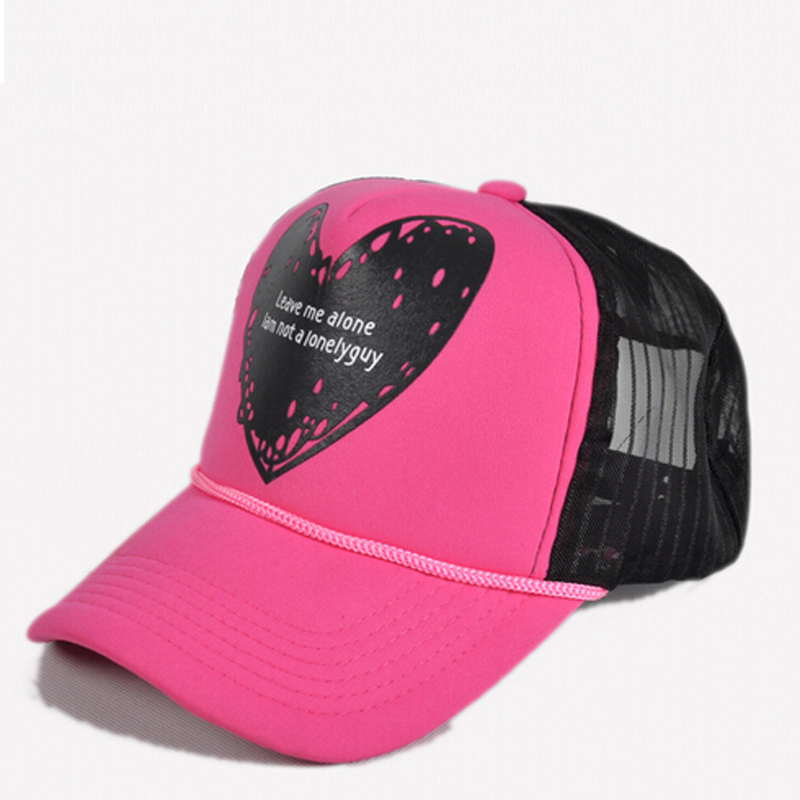 Get Quotations · 2015 heart shaped prints trucker caps female male mesh cap  snapback gorras hip hop hat 76fe1de23324