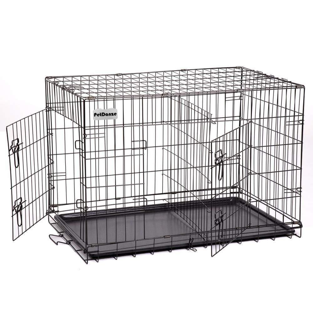BestPet 30 3 Door Black Folding Dog Crate Cage Kennel w//Divider
