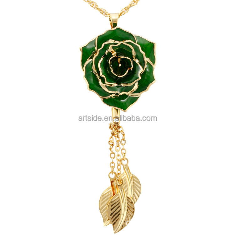 24k Gold Roses Accessories Europe And America Pendant Metal Rose Necklace With Leaf