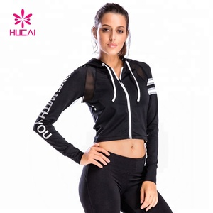 Loog Sleeve Black Sports Zip Up Women Fitness Crop Top Hoodie