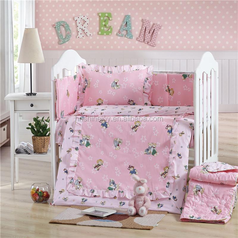 Super soft custom printed 5pcs 100% cotton baby crib bedding set with crib bumper