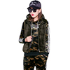 Custom adult winter hooded warm leisure metal band glass drill zipper inside velvet custom plus colour thickened three-piece set