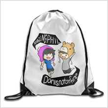 Bekey Dan And Game Phil Animated Pink Drawstring Backpack Sport Bag For Men & Women For Home Travel Storage Use Gym Traveling Shopping Sport Yoga Running