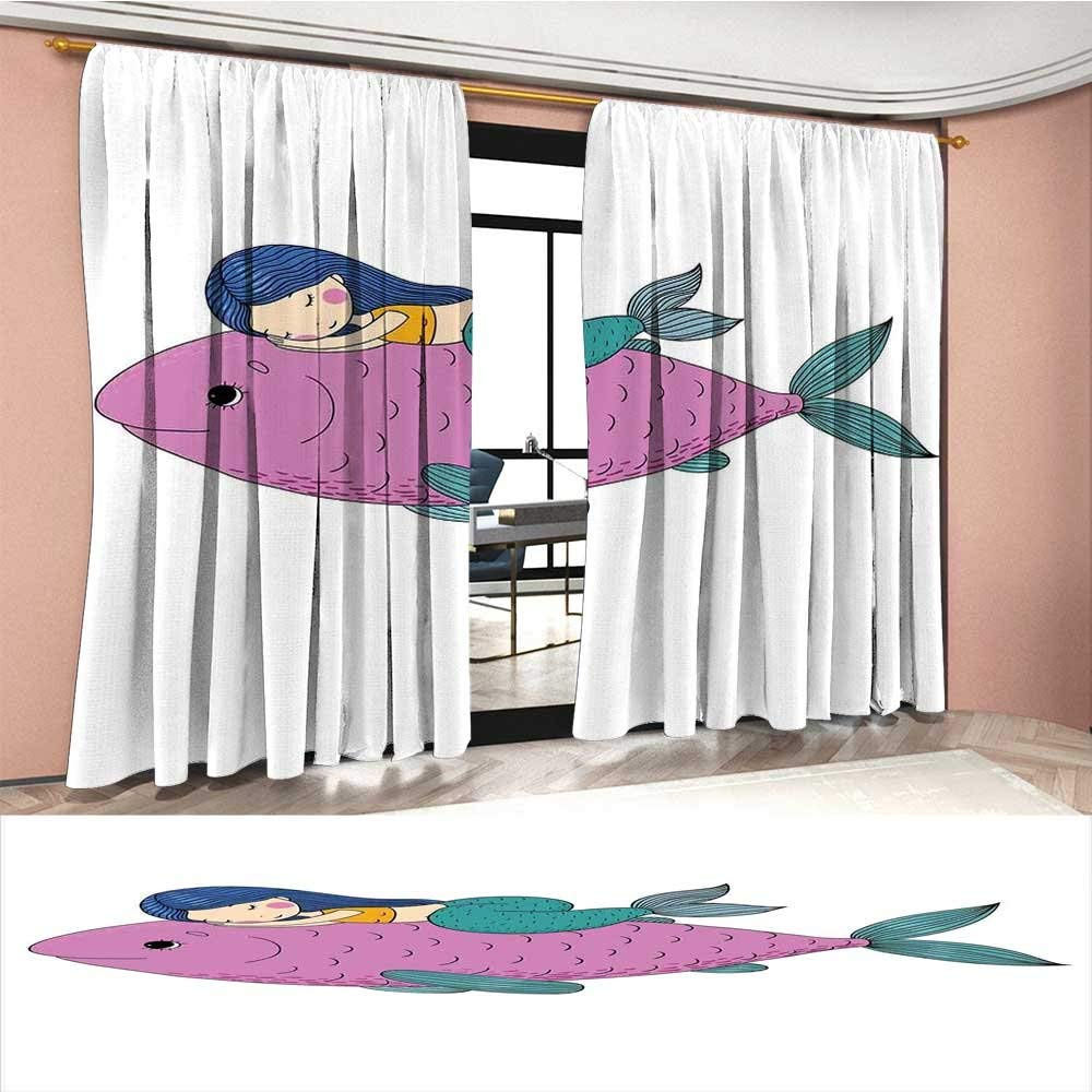 Get Quotations Mermaid Room Darkening Wide Curtains Baby Sleeping On Top Giant Fish Hy Best Friends Kids