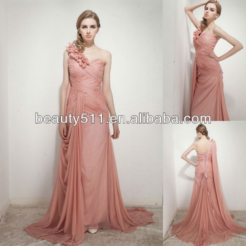 astergarden new styles sheath one shoulder with hand flower sweep train chiffon evening dresses AS240