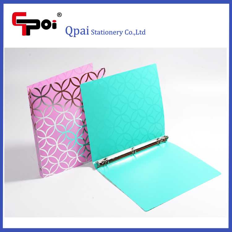 Stationery Office Custom Gold Stamping Plastic A4 Metal 3 Ring Binder File Folder