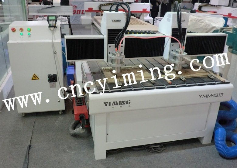 atc wood cnc router with two spindle for aluminum cutting industry