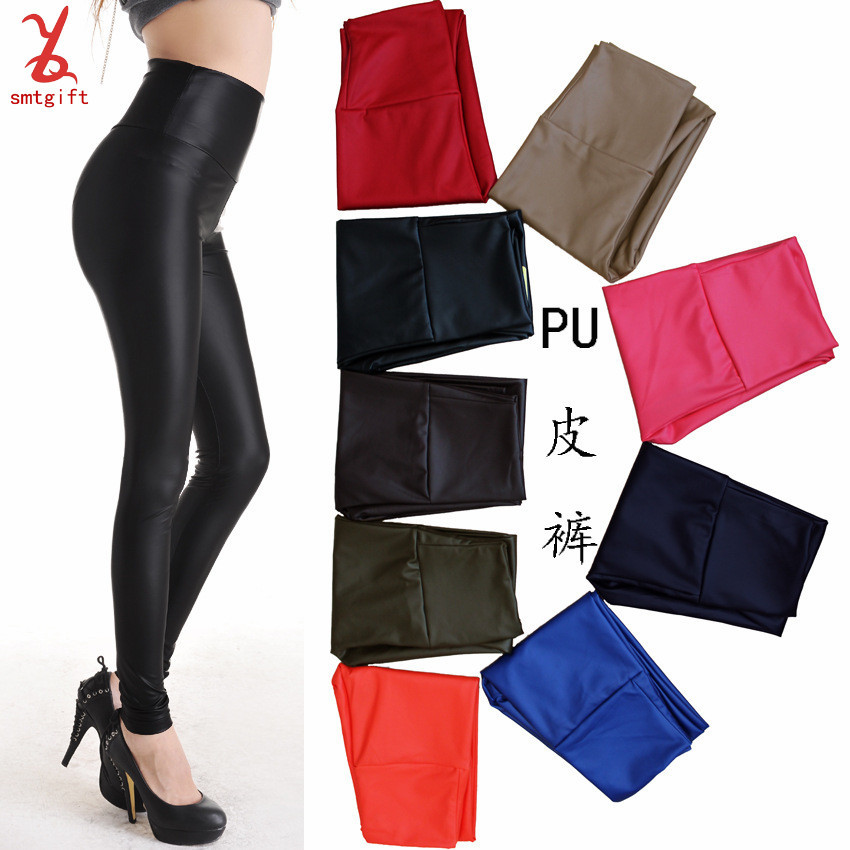 LL04 Europe and the United States 'spring models' big yards PU leggings feet abdomen waist elastic tight pencil leather pants wh