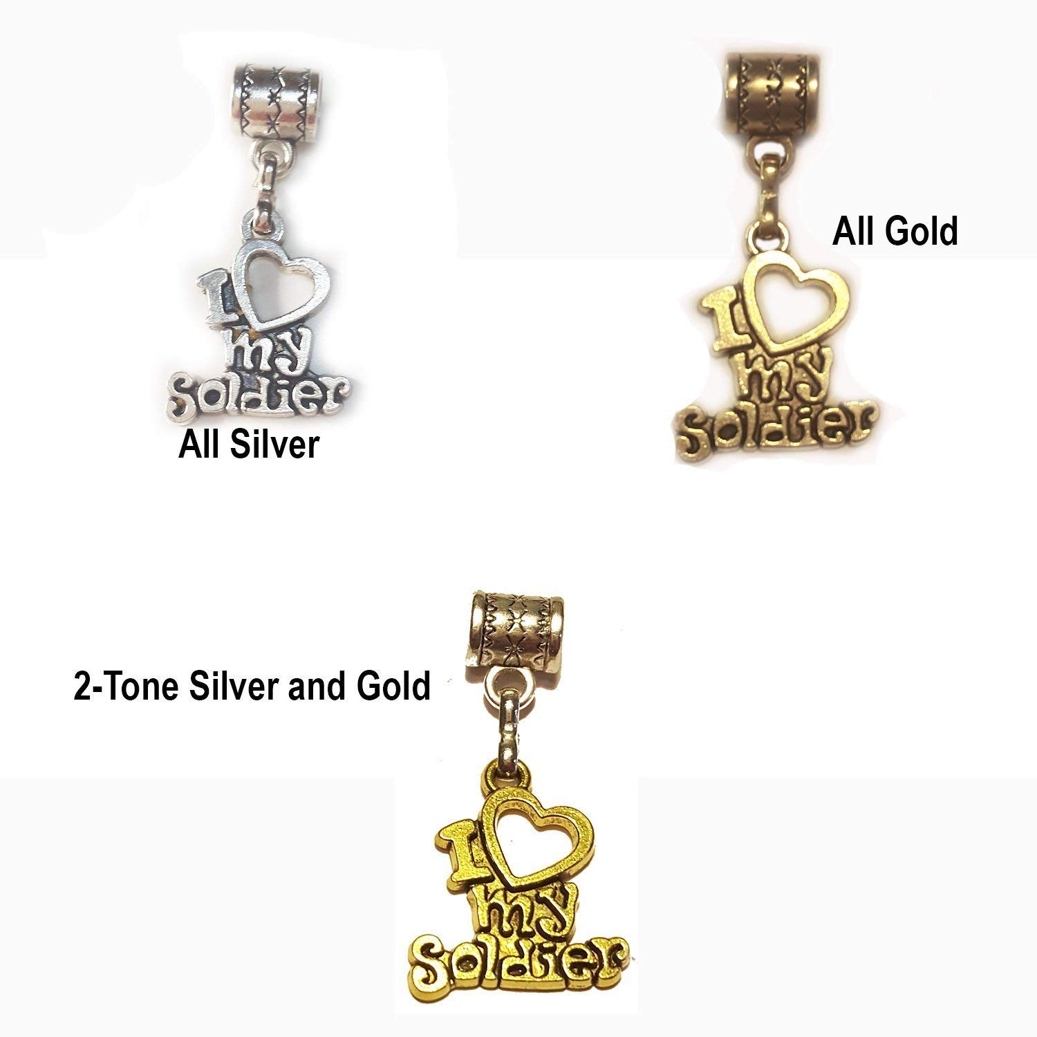 """I Love My Soldier"" antique silver charm, all gold charm or 2-tone silver and gold Hanging charm for large hole style snake chain charm bracelet, or add to a neck chain, or key chain"