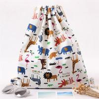 Girls Shoes Bags Beam Port Drawstring Travel Canvas Bags Zoo Cartoon Backpack Women Shoulders Storage Bags