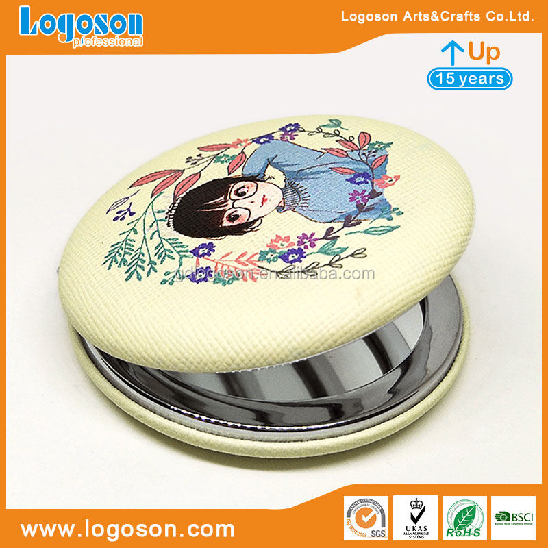 Promotion gift Custom compact mirror leather printing cosmetic mirror small