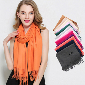 New trending product cashmere tassel scarf woman winter pure color shawl thick scarf