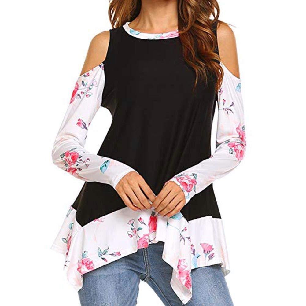 Franterd Women Cold Shoulder Floral Prints Long Sleeve Irregular Hem Casual Tunic Tops Pullover Shirt