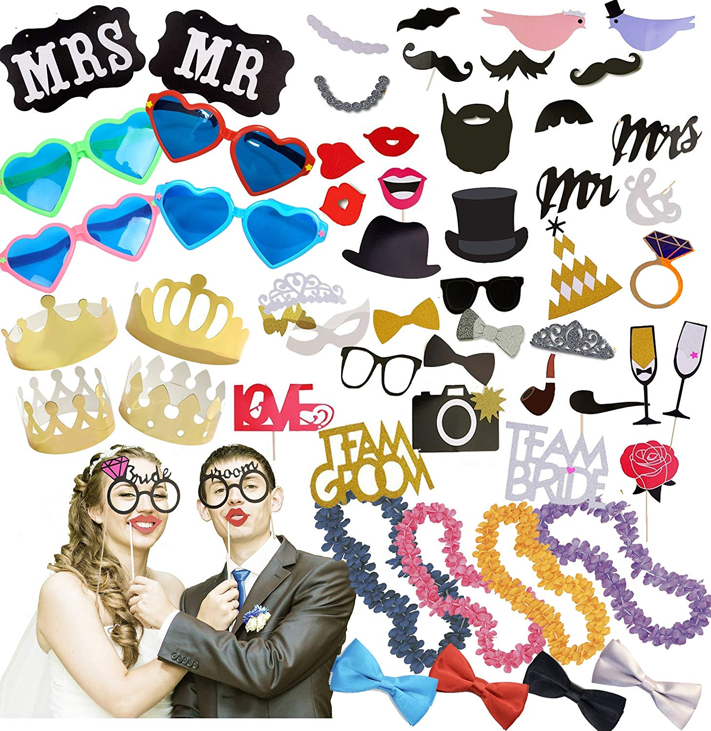 Wedding Photo Booth Props Kit | Paper and 3D Wedding Decorations and Accessories for Precious Memories; Jumbo Heart Glasses; Gold Crowns; Hawaiian Leis; Bow Ties; Mr. & Mrs. Sign by Scapa Pro