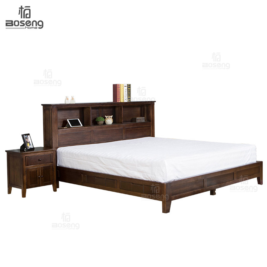 Boseng Latest Double Bed Designs King Size Murphy Bed Solid Wood Bed With  Bookcase Headboard   Buy Wood Double Bed Designs With Box,Oak Wood Bed,Murphy  Bed ...
