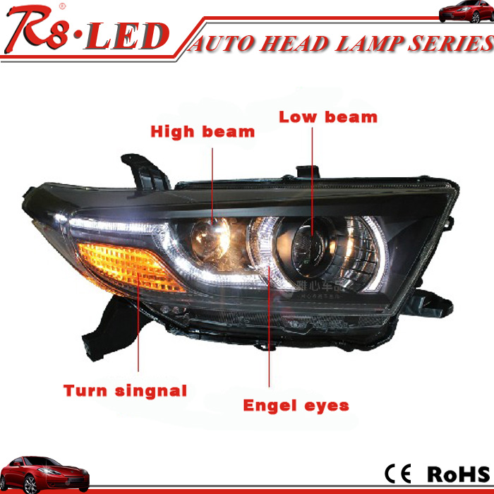 Guangzhou ousipu car hid head lamp 2012 toyota highlander angel eyes hid bi-xenon projector lens head lamp range rover type