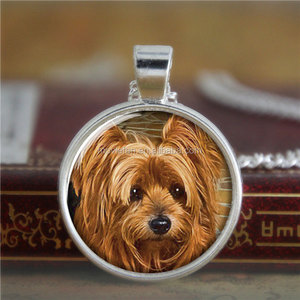 Yorkie necklace, Yorkshire terrier Puppy Gift for Yorkie Lover necklace print photo glass dog necklace