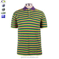 Yarn dye stripe men 100% cotton polo shirt