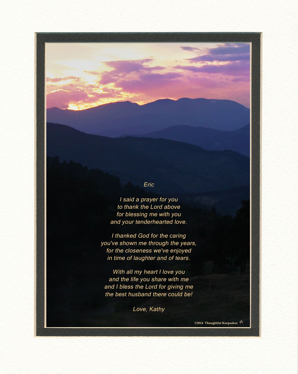 Get Quotations Personalized Husband Gift With Thank You Prayer For Best Poem Mts Sunset