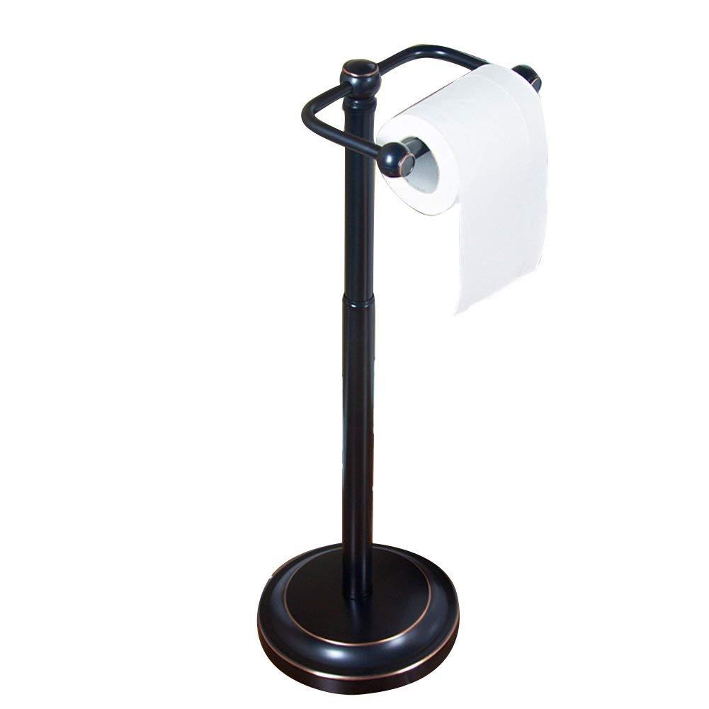 WYMNAME Free standing toilet tissue paper holder,Kitchen Tissues holder Roll paper tube Restroom Ground Stainless steel Toilet paper shelf-black