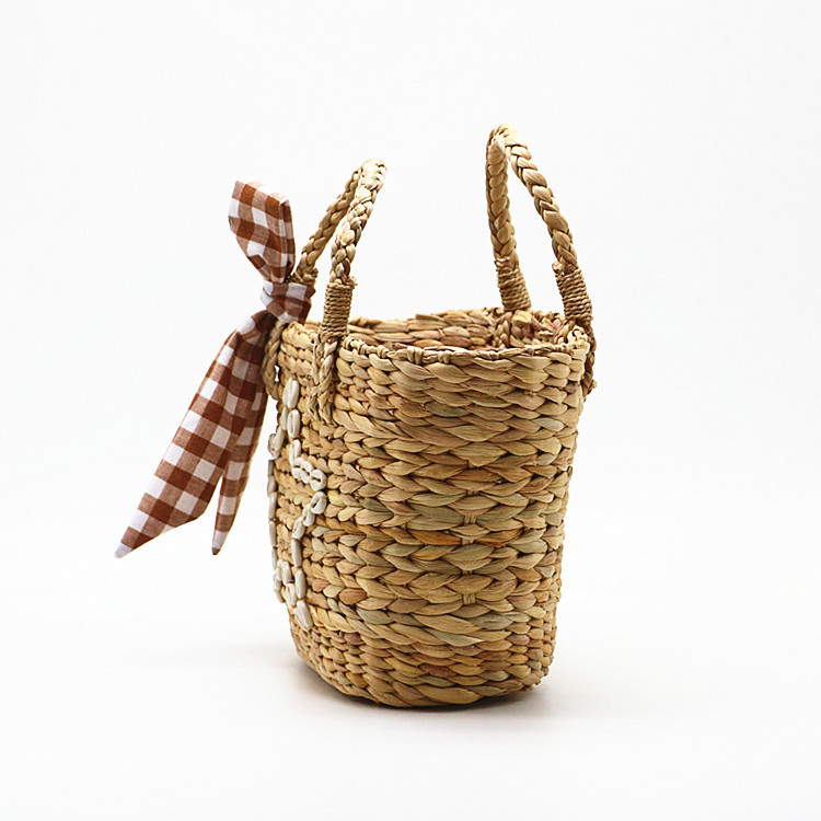 RKY0730 New summer style shell star gourd grass woven bag woven pp beach bag straw rattan tote bag-3